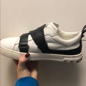 Valentino V Punk Leather Buckle-Strap Sneaker
